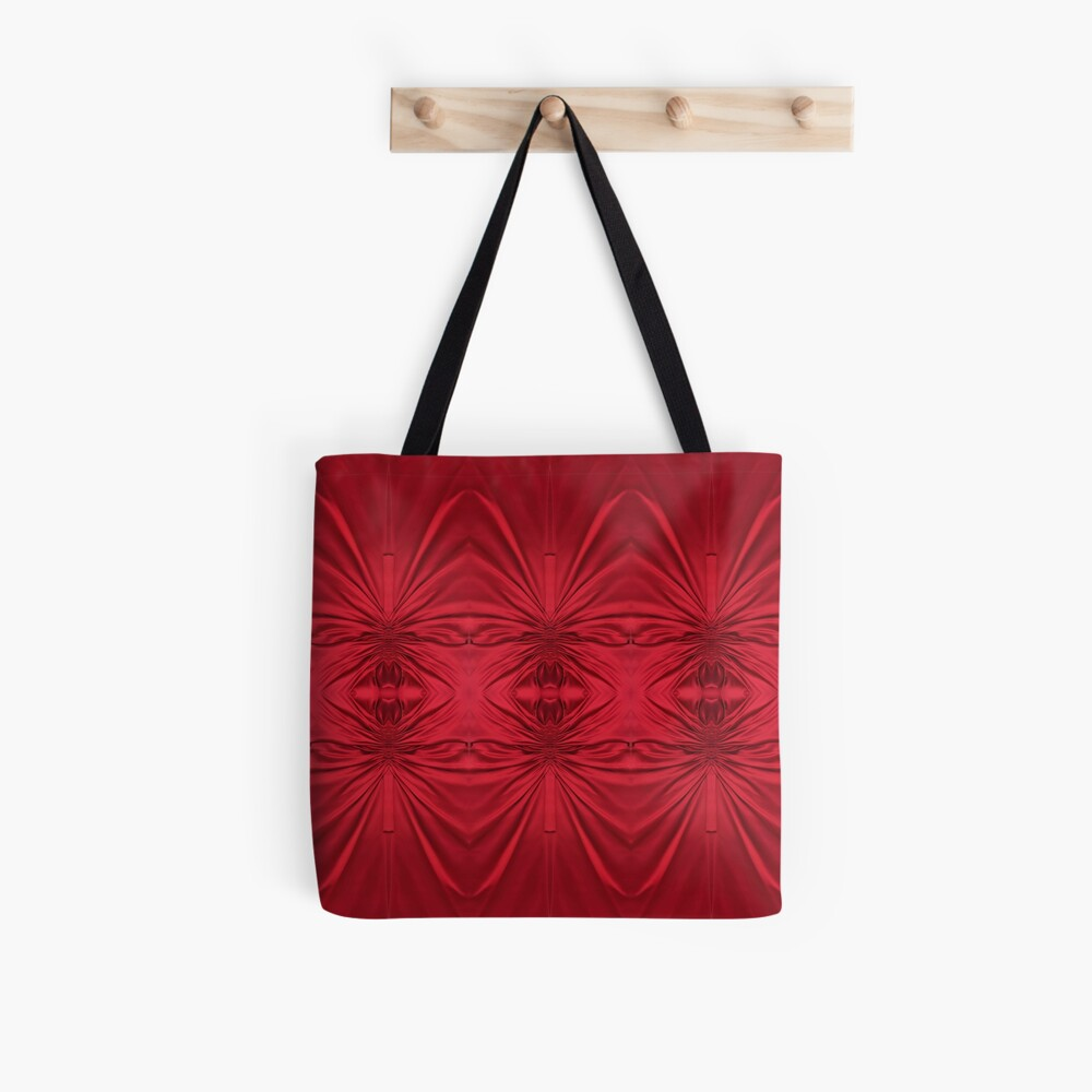 #red #maroon #symmetry #abstract #illustration #design #art #pattern #textile #decoration #vertical #backgrounds #textured #colors Tote Bag
