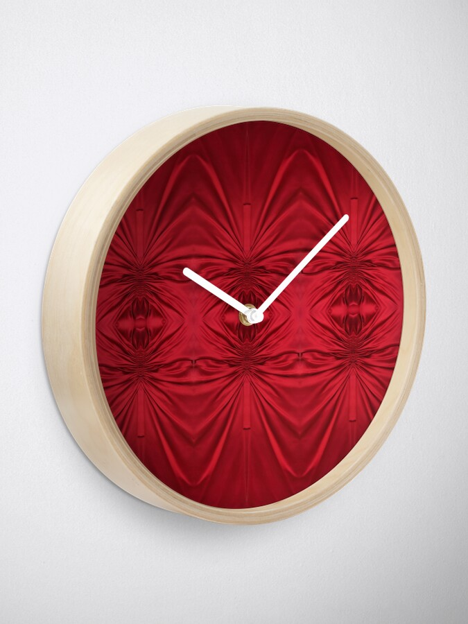 Alternate view of #red #maroon #symmetry #abstract #illustration #design #art #pattern #textile #decoration #vertical #backgrounds #textured #colors Clock