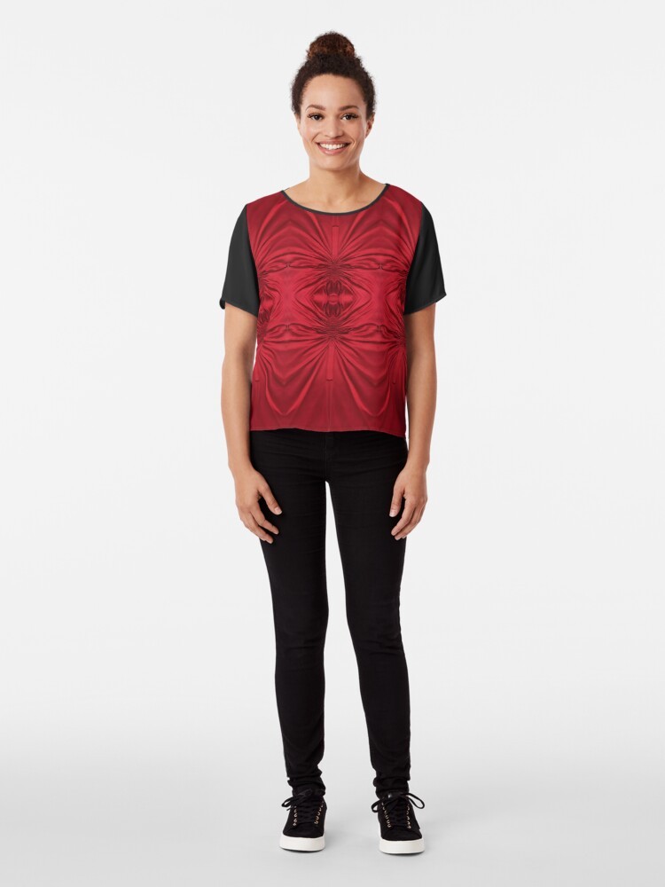 Alternate view of #red #maroon #symmetry #abstract #illustration #design #art #pattern #textile #decoration #vertical #backgrounds #textured #colors Chiffon Top