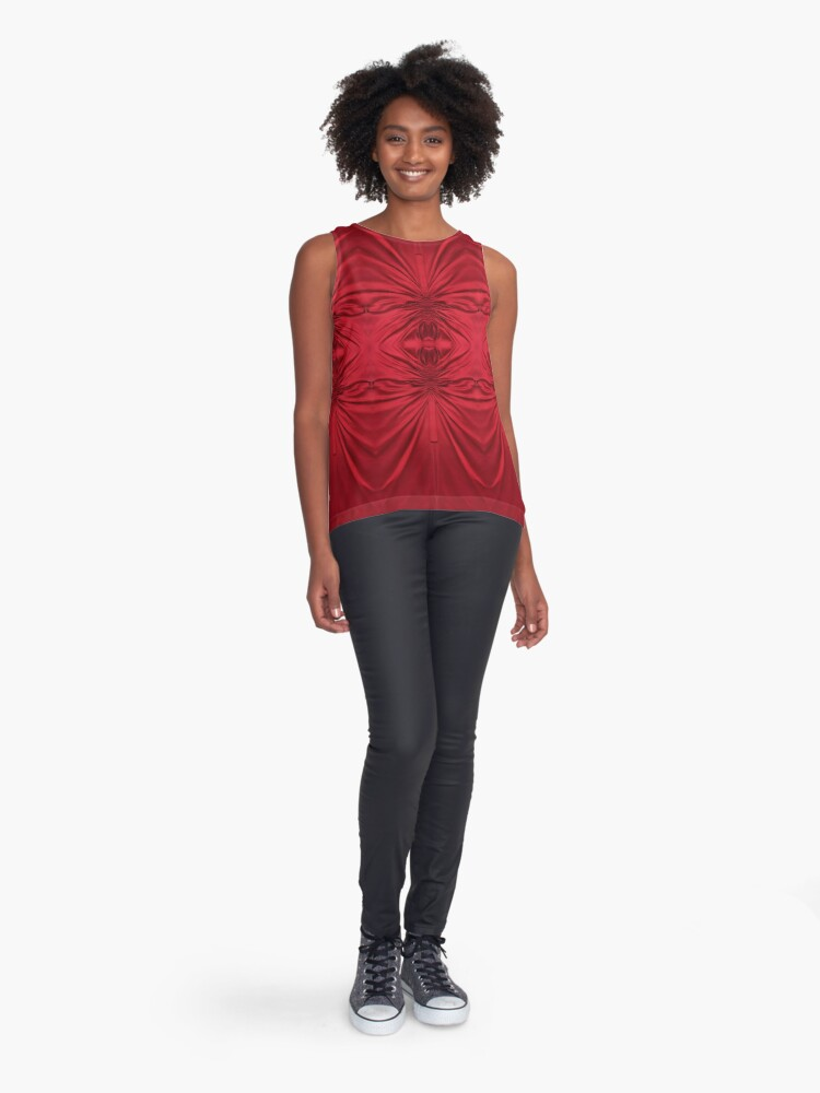 Alternate view of #red #maroon #symmetry #abstract #illustration #design #art #pattern #textile #decoration #vertical #backgrounds #textured #colors Sleeveless Top