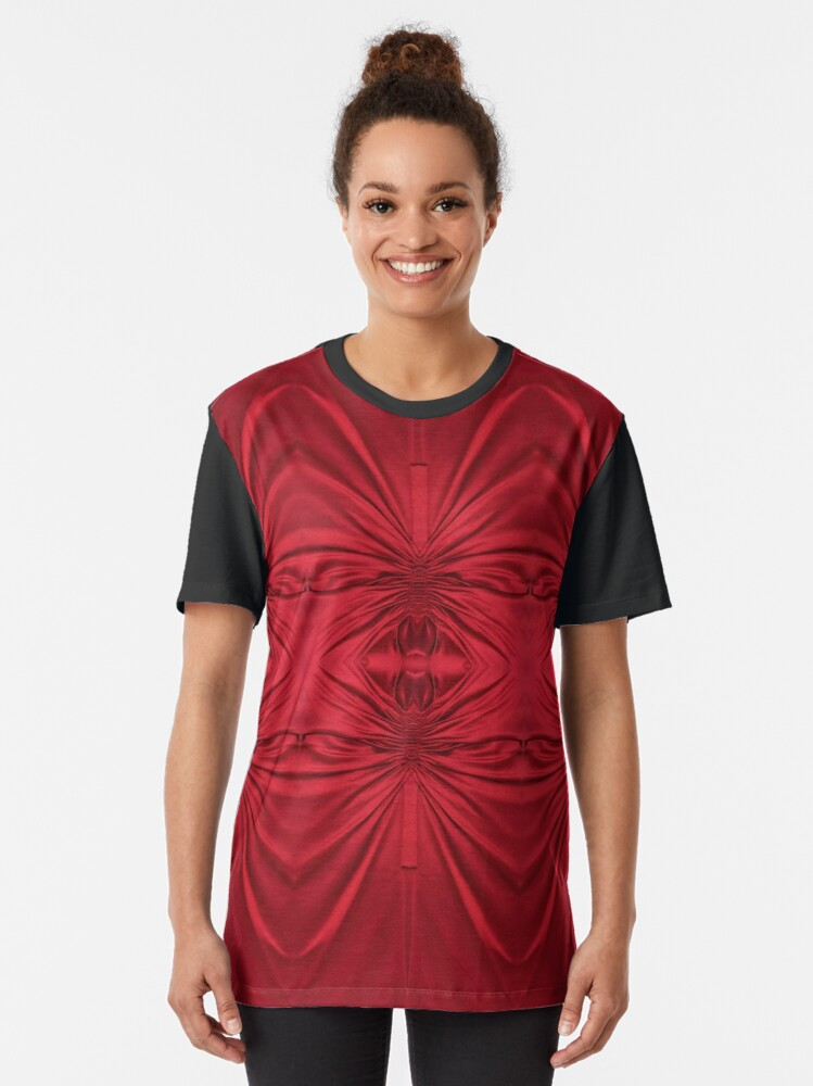Alternate view of #red #maroon #symmetry #abstract #illustration #design #art #pattern #textile #decoration #vertical #backgrounds #textured #colors Graphic T-Shirt