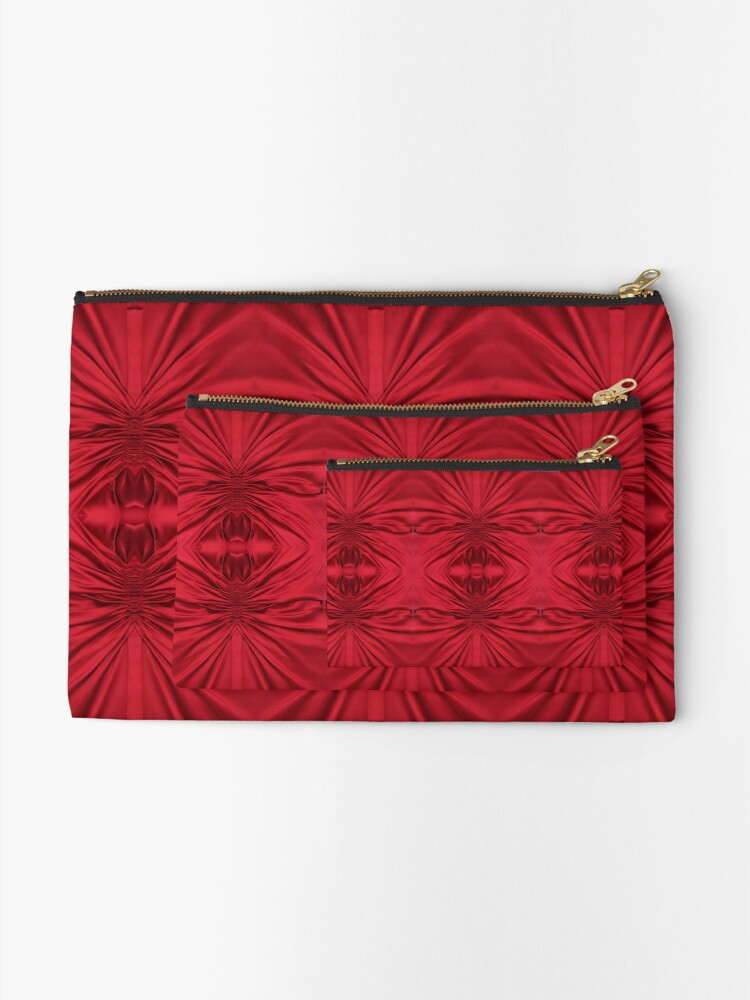 Alternate view of #red #maroon #symmetry #abstract #illustration #design #art #pattern #textile #decoration #vertical #backgrounds #textured #colors Zipper Pouch