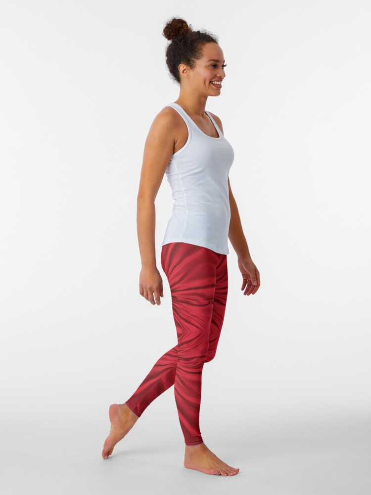 Alternate view of #red #maroon #symmetry #abstract #illustration #design #art #pattern #textile #decoration #vertical #backgrounds #textured #colors Leggings
