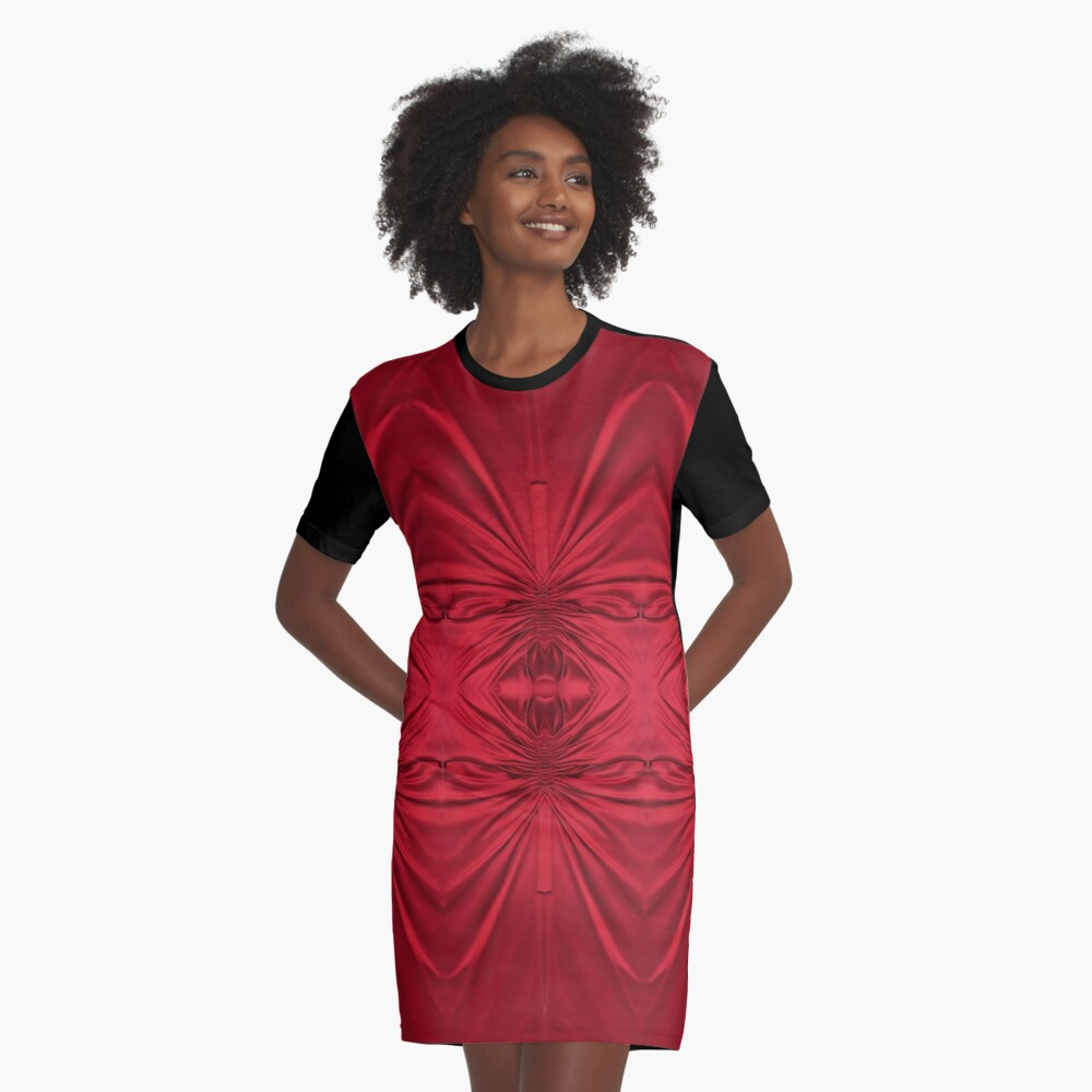 #red #maroon #symmetry #abstract #illustration #design #art #pattern #textile #decoration #vertical #backgrounds #textured #colors Graphic T-Shirt Dress