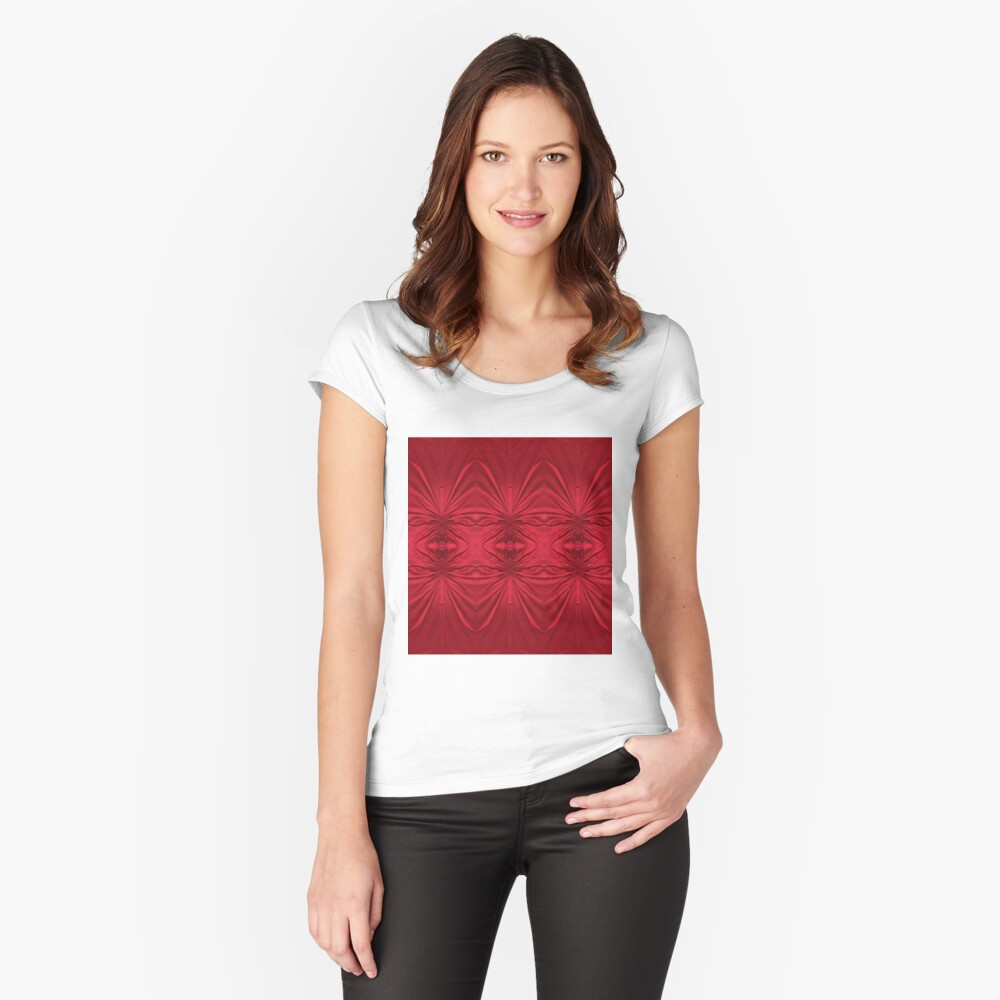 #red #maroon #symmetry #abstract #illustration #design #art #pattern #textile #decoration #vertical #backgrounds #textured #colors Fitted Scoop T-Shirt