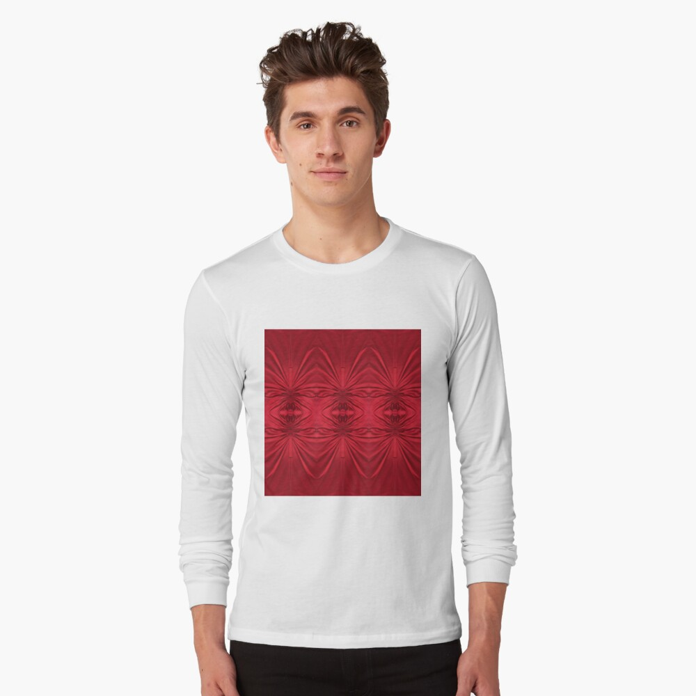 #red #maroon #symmetry #abstract #illustration #design #art #pattern #textile #decoration #vertical #backgrounds #textured #colors Long Sleeve T-Shirt