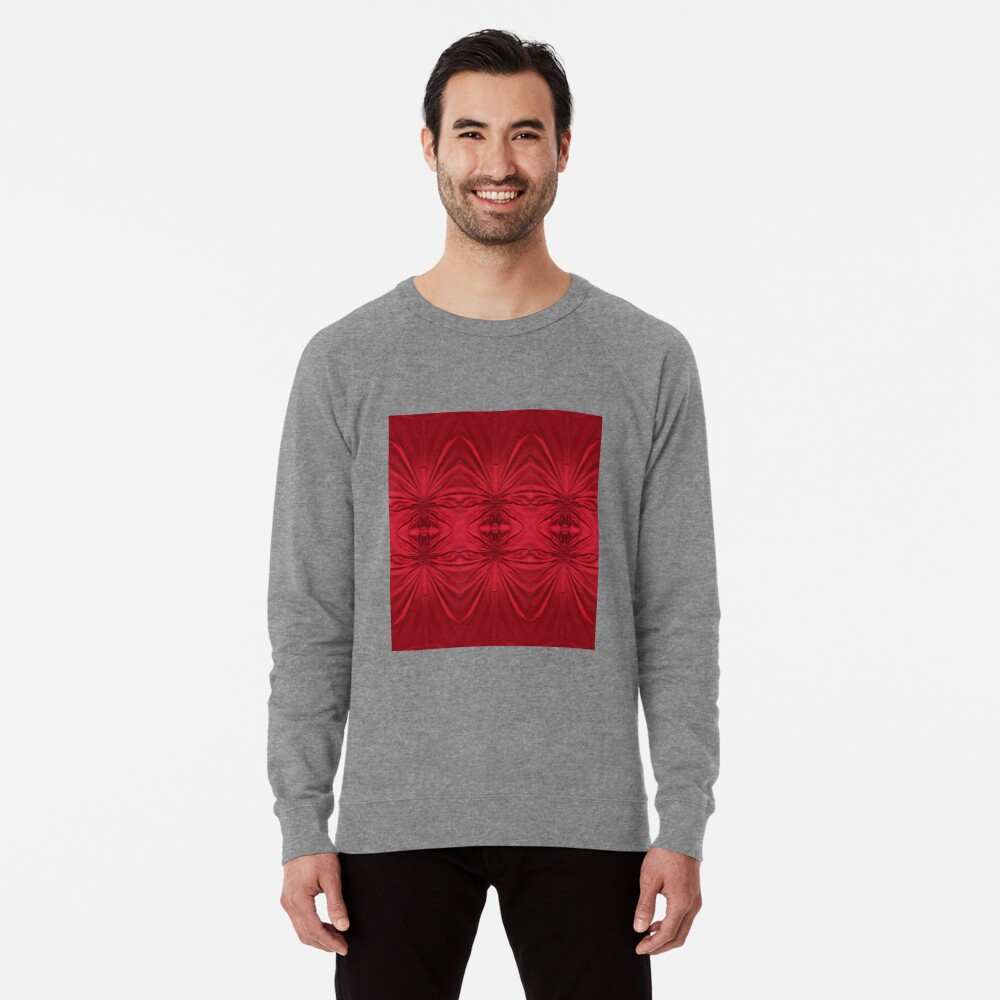 #red #maroon #symmetry #abstract #illustration #design #art #pattern #textile #decoration #vertical #backgrounds #textured #colors Lightweight Sweatshirt
