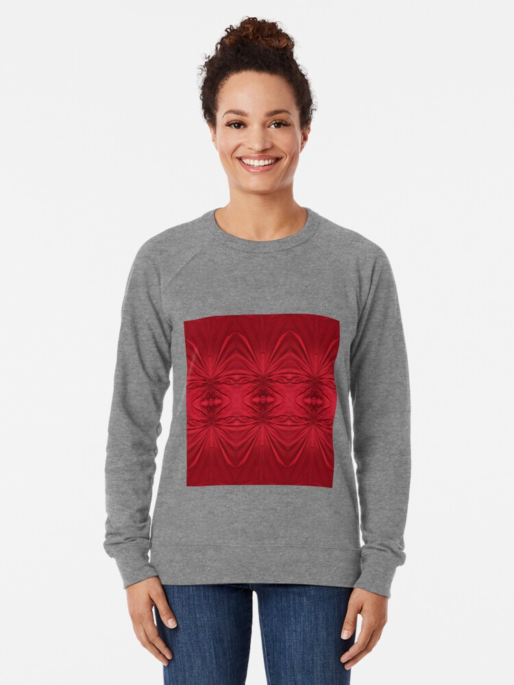 Alternate view of #red #maroon #symmetry #abstract #illustration #design #art #pattern #textile #decoration #vertical #backgrounds #textured #colors Lightweight Sweatshirt