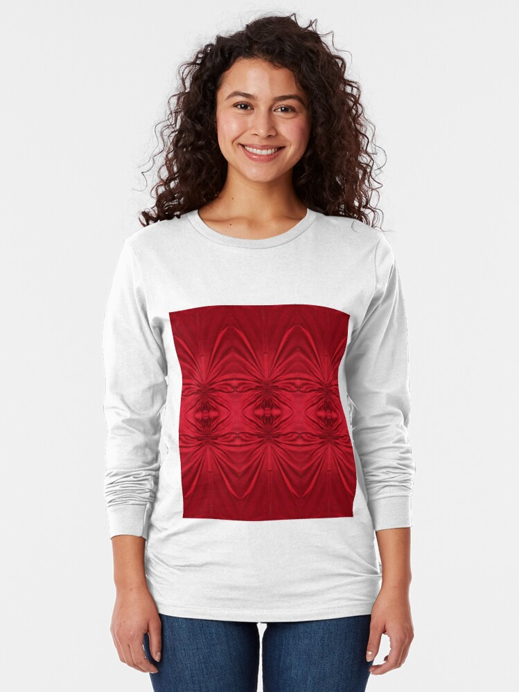 Alternate view of #red #maroon #symmetry #abstract #illustration #design #art #pattern #textile #decoration #vertical #backgrounds #textured #colors Long Sleeve T-Shirt