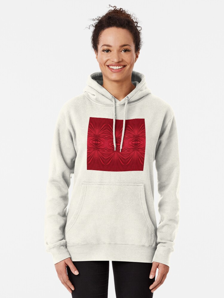 Alternate view of #red #maroon #symmetry #abstract #illustration #design #art #pattern #textile #decoration #vertical #backgrounds #textured #colors Pullover Hoodie