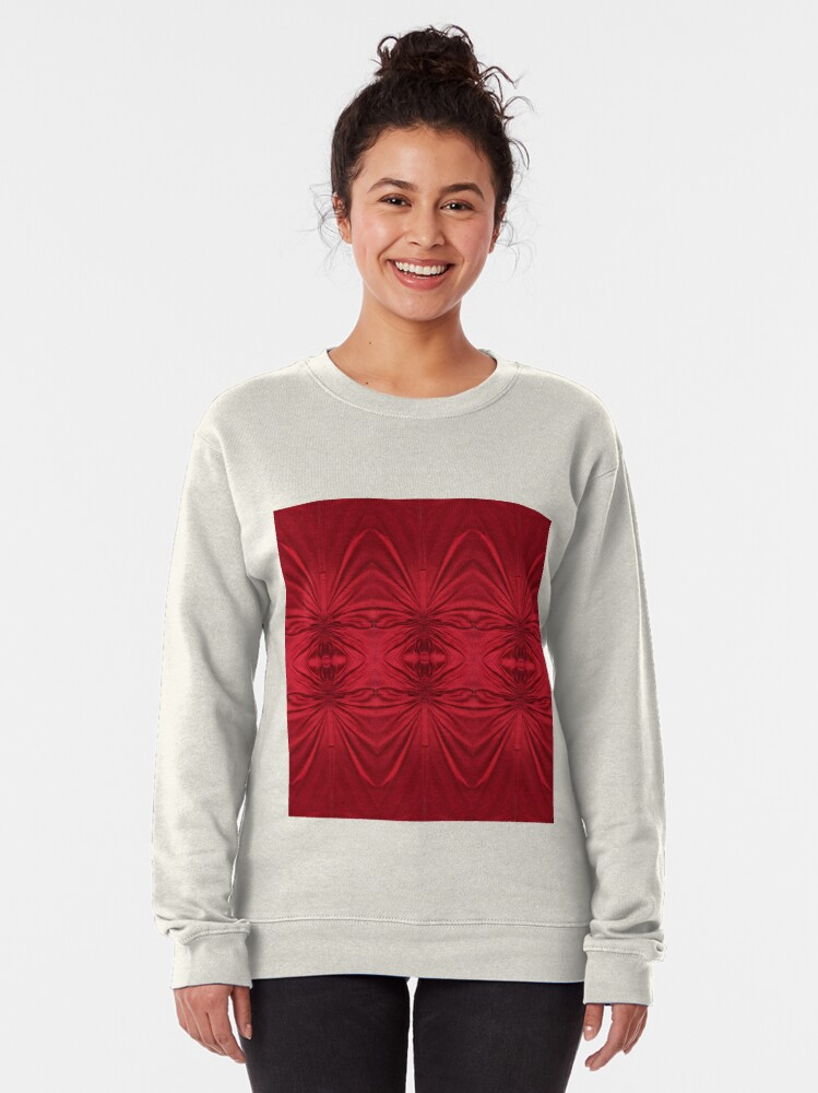 Alternate view of #red #maroon #symmetry #abstract #illustration #design #art #pattern #textile #decoration #vertical #backgrounds #textured #colors Pullover Sweatshirt