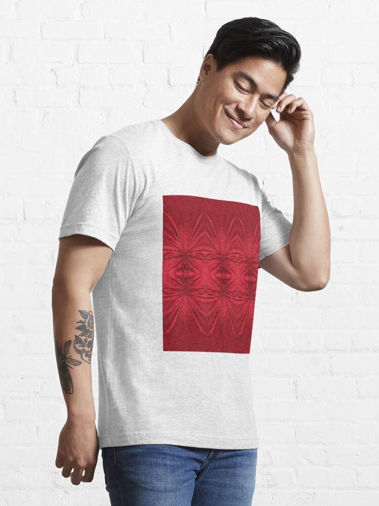 Alternate view of #red #maroon #symmetry #abstract #illustration #design #art #pattern #textile #decoration #vertical #backgrounds #textured #colors Essential T-Shirt