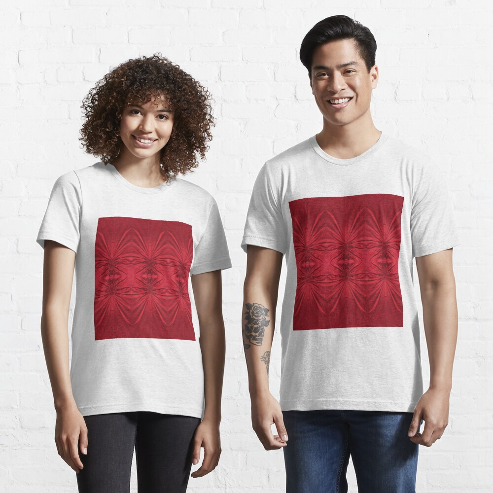 #red #maroon #symmetry #abstract #illustration #design #art #pattern #textile #decoration #vertical #backgrounds #textured #colors Essential T-Shirt
