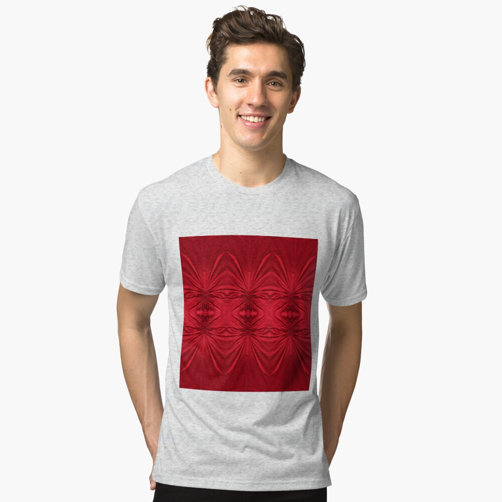 #red #maroon #symmetry #abstract #illustration #design #art #pattern #textile #decoration #vertical #backgrounds #textured #colors Tri-blend T-Shirt