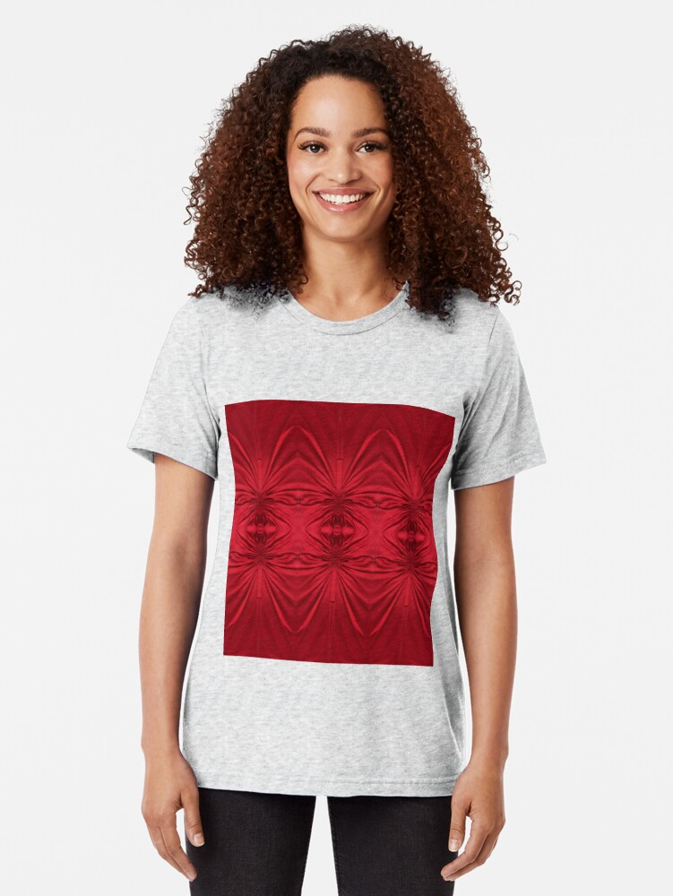 Alternate view of #red #maroon #symmetry #abstract #illustration #design #art #pattern #textile #decoration #vertical #backgrounds #textured #colors Tri-blend T-Shirt