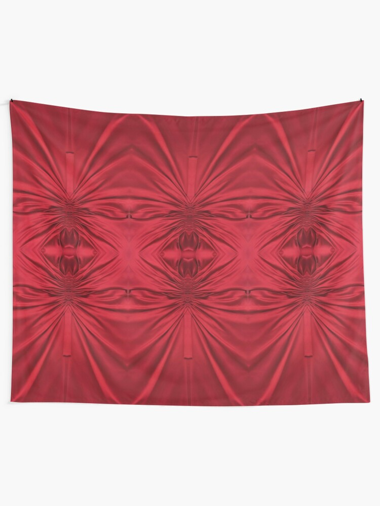 Alternate view of #red #maroon #symmetry #abstract #illustration #design #art #pattern #textile #decoration #vertical #backgrounds #textured #colors Tapestry