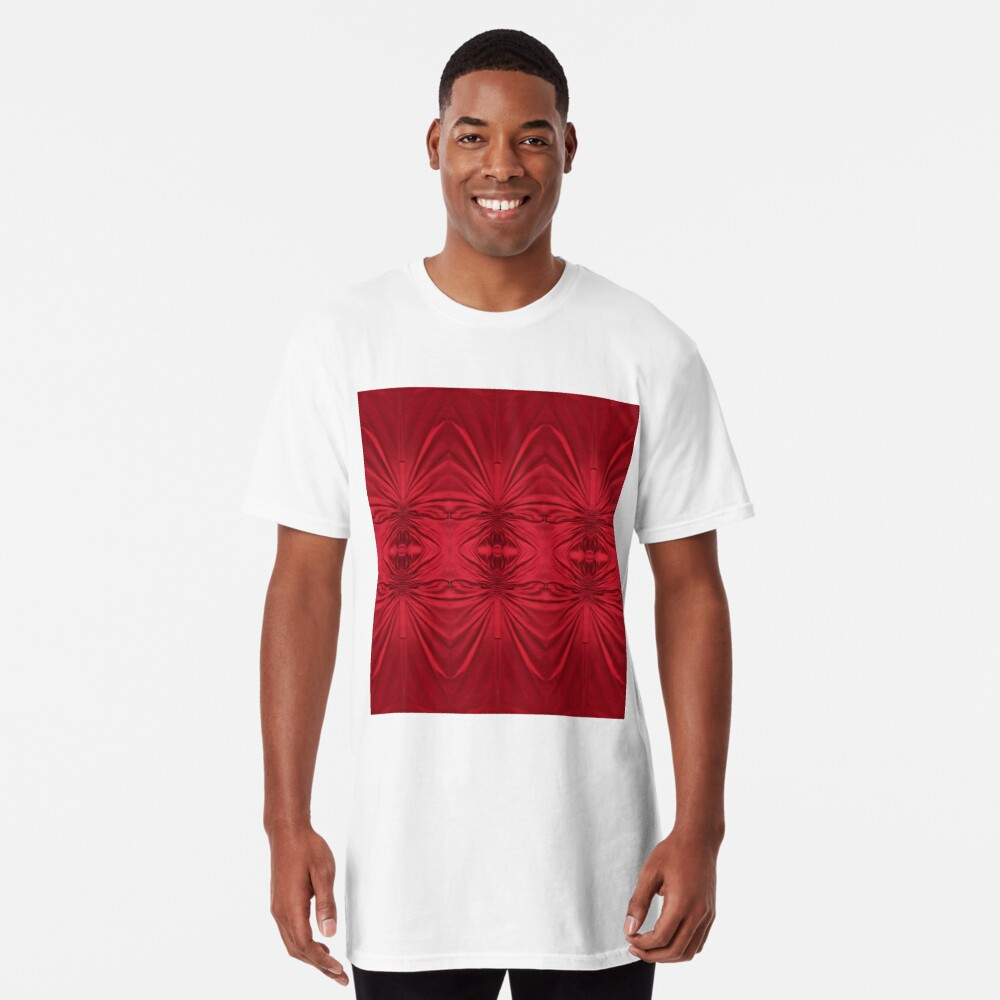 #red #maroon #symmetry #abstract #illustration #design #art #pattern #textile #decoration #vertical #backgrounds #textured #colors Long T-Shirt