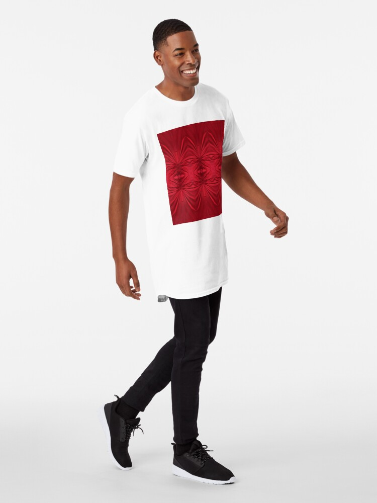 Alternate view of #red #maroon #symmetry #abstract #illustration #design #art #pattern #textile #decoration #vertical #backgrounds #textured #colors Long T-Shirt