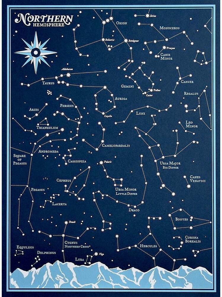 STAR CONSTELLATIONS : Vintage Northern Hemisphere Chart Print by posterbobs