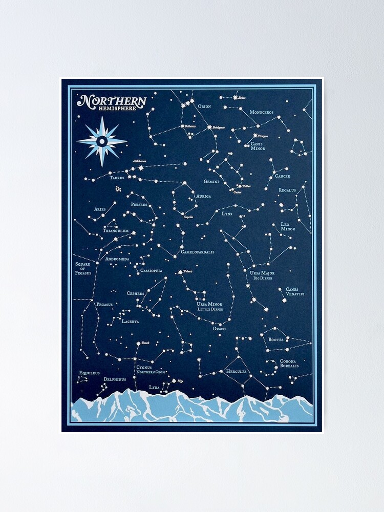 Alternate view of STAR CONSTELLATIONS : Vintage Northern Hemisphere Chart Print Poster
