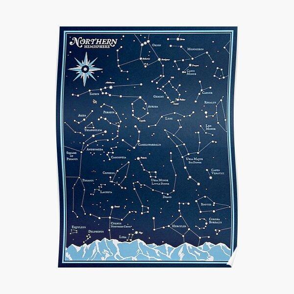 STAR CONSTELLATIONS : Vintage Northern Hemisphere Chart Print Poster