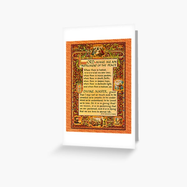 St. Francis of Assisi Simple Prayer for Peace Greeting Card