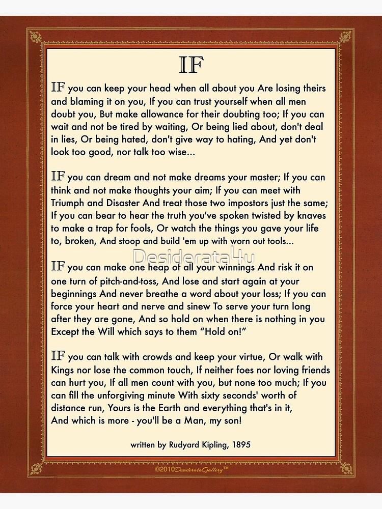 If Quote By Rudyard Kipling by Desiderata4u