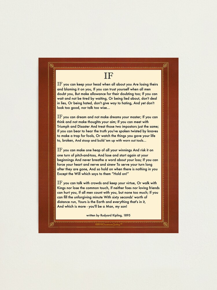Alternate view of If Quote By Rudyard Kipling Photographic Print