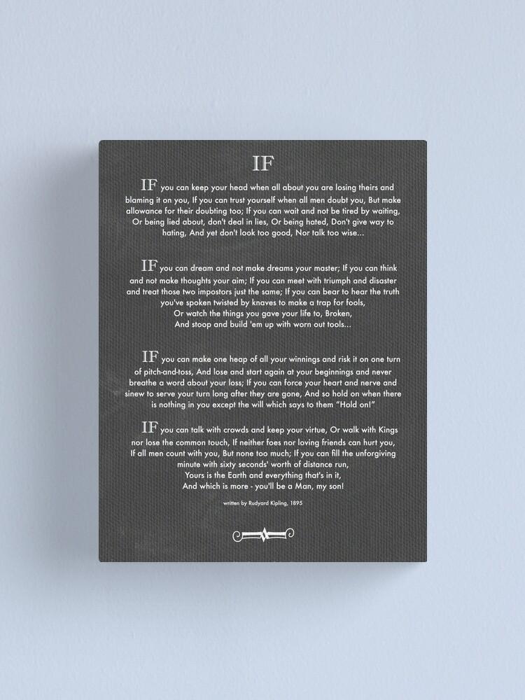 "Rudyard Kipling Art Print /""IF POEM/"" Photo Poster Gift Quote Motivation"