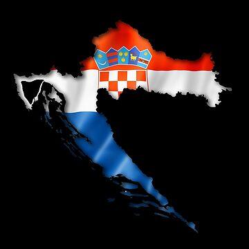 Croatia Flag Country Shape - Gift For Croatian From Croatia by Popini