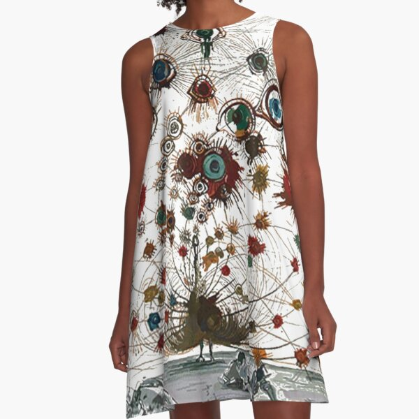 #painting #illustration #vector #design #art #abstract #decoration #flower #element #pattern #nature #horizontal #retrostyle #SalvadorDali A-Line Dress