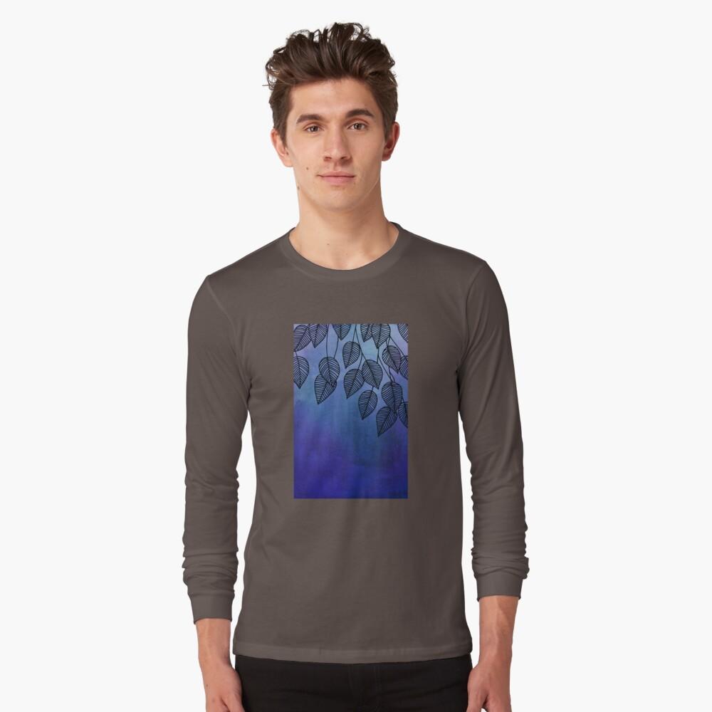 Midnight Blue Garden - hojas de acuarela y tinta Camiseta de manga larga