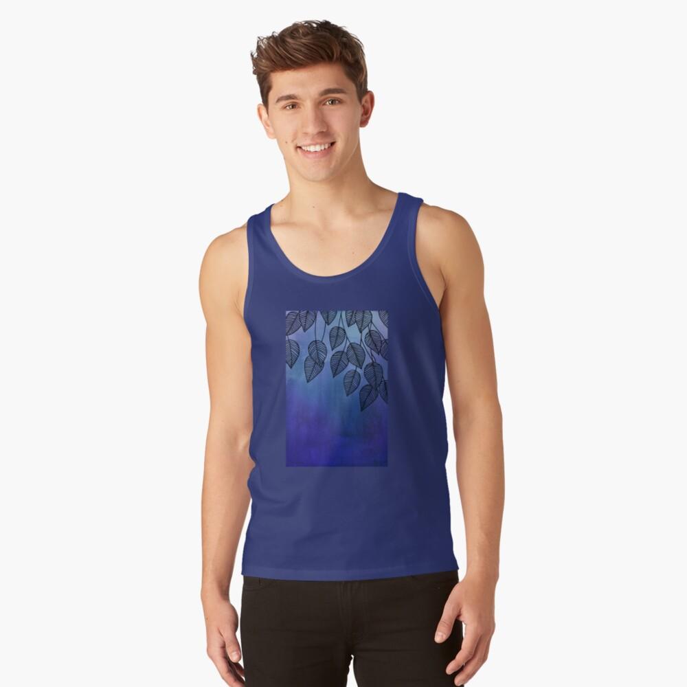 Midnight Blue Garden - hojas de acuarela y tinta Camiseta de tirantes