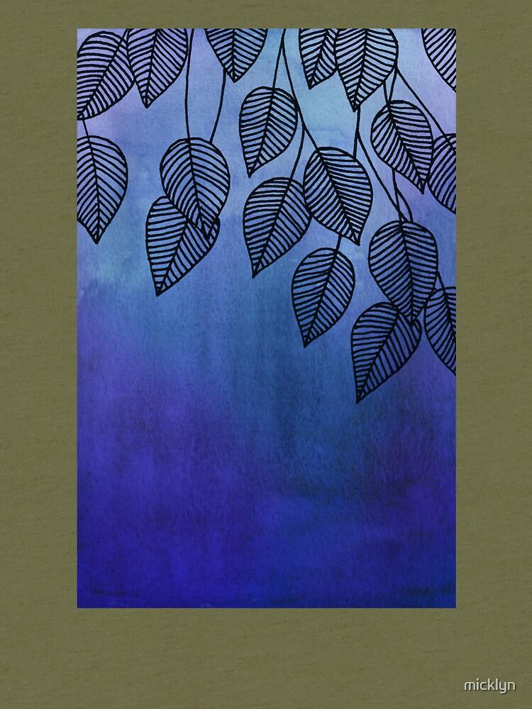 Midnight Blue Garden - hojas de acuarela y tinta de micklyn