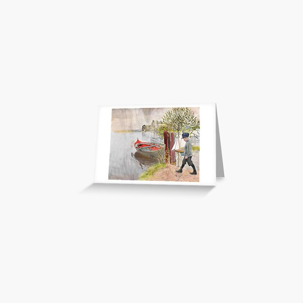 Little Boy and Sailboat  Greeting Card