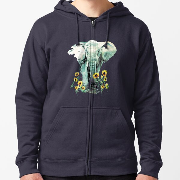 Wild - Elephant with Sunflowers Zipped Hoodie