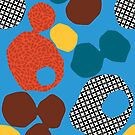 AFTER HERON - Zennor St Ives Cornwall, abstract repeat pattern, blue, orange, teal, brown by mapmapart