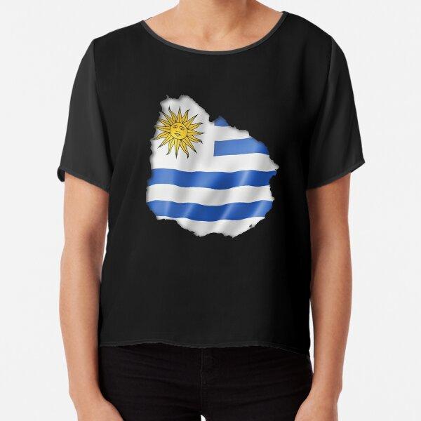 Uruguay Flag Womens A-Line Chiffon Blouse Shirt Tops