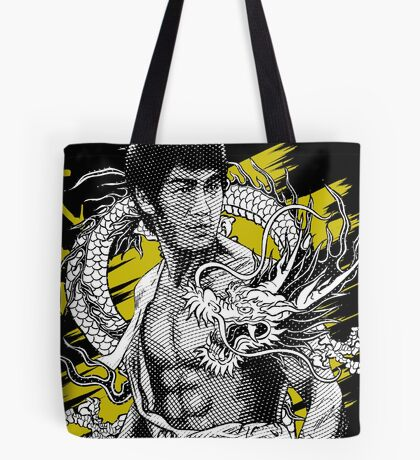 Bruce Lee The Legend of the Dragon on Darks Tote Bag