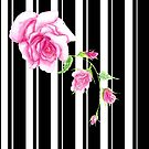 Black and white stripes with pink rose by AnnArtshock