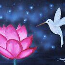 Lotus mit Kolibri von TerraSomniaArt