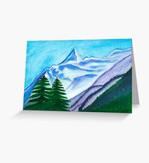 Two mountain spruce against the backdrop of snow-capped peak Greeting Card