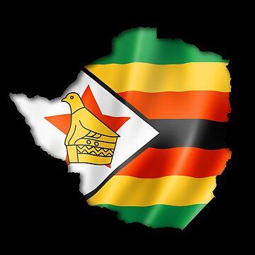 Zimbabwe Flag Country Shape - Gift For Zimbabwean From Zimbabwe by Popini