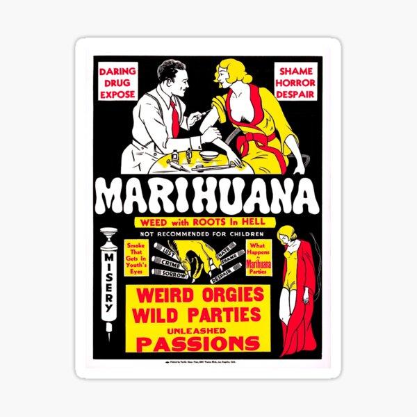 Vintage Hollywood Nostalgia Marihuana Cannabis Marijuana Film Movie Advertisement Poster Sticker