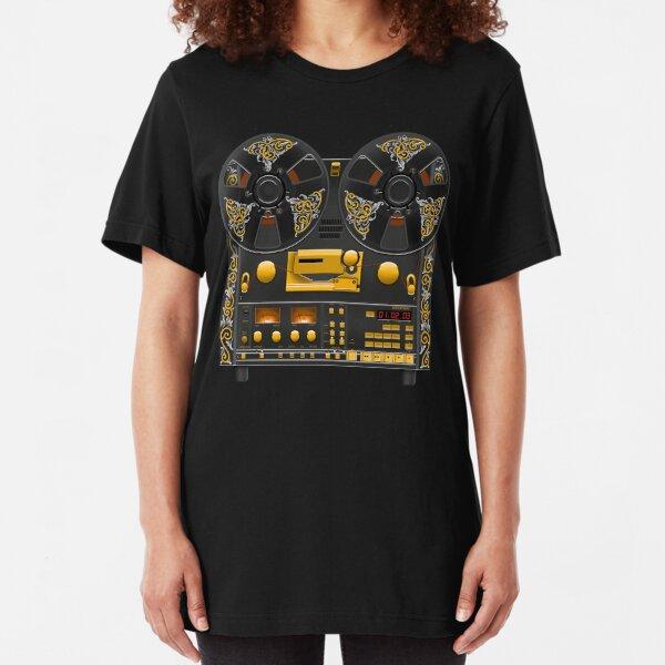 Reel to Reel Tape Deck Recorder with Vintage Scrolls  Slim Fit T-Shirt
