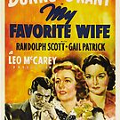 Vintage Hollywood Nostalgia My Favorite Wife Cary Grant Film Movie Advertisement Poster by jnniepce