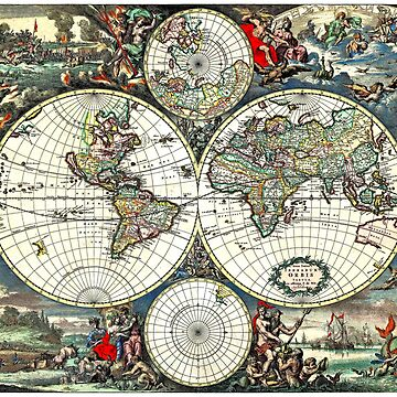 WORLD MAP FREDRICK De WIT : Vintage 1675 Global Print by posterbobs