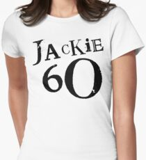 Jackie 60 Classic Black Logo on White  Women's Fitted T-Shirt