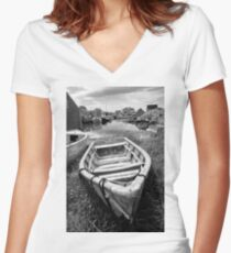 Abandoned Boat Women's Fitted V-Neck T-Shirt