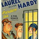 Vintage Hollywood Nostalgia Pardon Us Laurel and Hardy Film Movie Advertisement Poster by jnniepce
